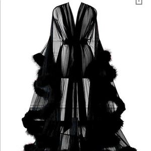 Long, Sheer, Lingerie Robe with Feathers
